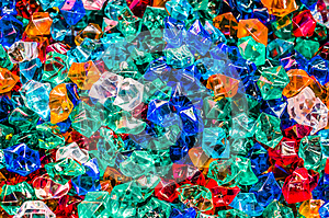 Colorful plastic crystals and colorful of background