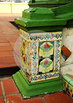 Old tiles of Air Barok Mosque at Jasin Malacca, Malaysia