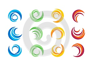 circle, water, logo, wind, sphere, plant, leaves, wings, flame, sun, abstract, infinity, Set of round icon symbol vector design