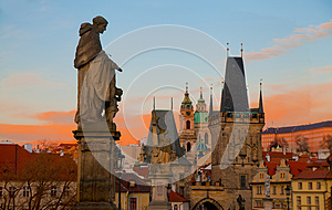 Dramatic sunrise view of the towers of Mala Strana from Charles