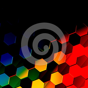 dark colorful hexagonal background. unique abstract hexagon pattern. flat modern illustration. vibrant texture design. style.