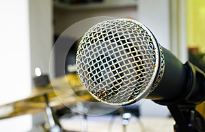 Close up of microphone in music room or conference room
