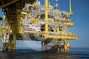 Offshore oil and gas production and exploration business. Production oil and gas plant and main construction platform in the sea