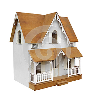 Old doll house isolated.