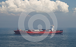 Container Cargo Ship and horizon