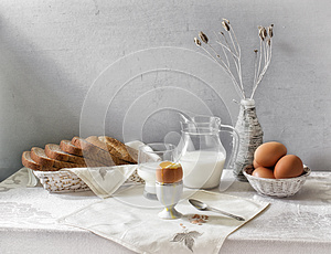 Egg and milk Still Life