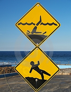 Rockpool caution signs