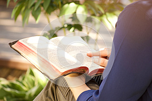 Young Woman Reading Holy Bible Outside
