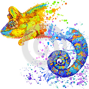 Funny chameleon with watercolor splash textured