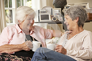 Two Retired Senior Female Friends Sitting On Sofa Drinking Tea At Home