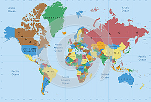 World map political detailed