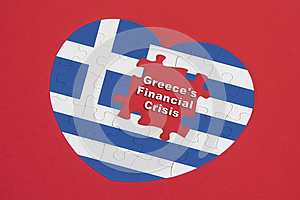 Heart shape Greece Flag jigsaw puzzle with a written word Greece