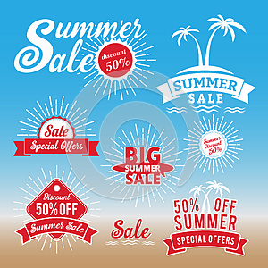 Set of summer sale promotion badge/logo design, retro badge design for logo, banner, tag, insignia, emblem, label element, adverti