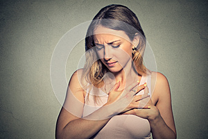 Woman with heart attack, pain, health problem