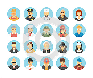 Persons icons collection. Character icons set illustrating people occupations, lifestyles, nations and cultures.