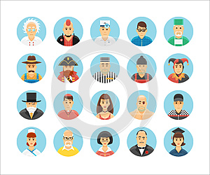 Characters and persons icons collection. Icons set illustrating people occupations, lifestyles, nations and cultures.