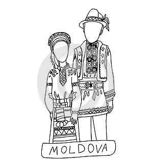 The national traditional ethnic costume for men and woman of the country