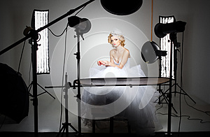 Professional photography studio showing behind the scenes lights