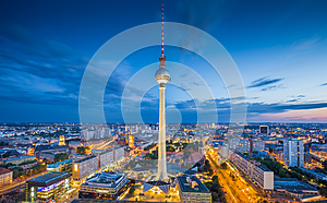 Berlin skyline with TV tower at night, Germany