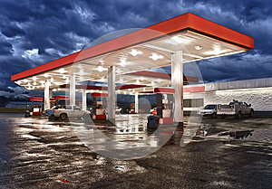 Gas station on rainy night