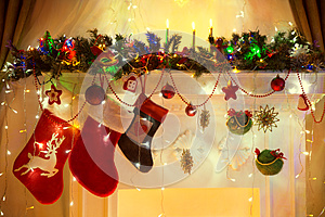 Christmas Fireplace, Family Hanging Socks, Xmas Lights Decoratio
