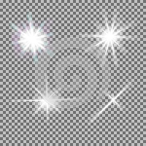 Vector set of glowing light bursts with sparkles