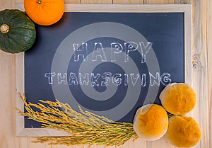 Happy Thanksgiving word cloud on a vintage slate blackboard.