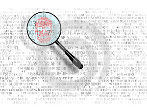 The concept of search in hex code, malicious code. Web search. A magnifying glass looking for