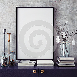 Mock up poster frame in hipster interior background,christamas decoration,