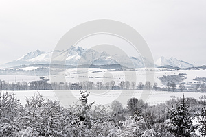 Distant view on Slovakian side of High Tatra mountains covered w