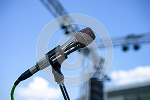 Wired microphone stand on the venue