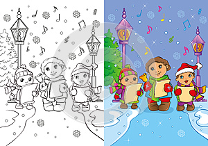 Coloring Book Of Children Sing Christmas Carols