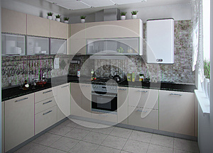 Modern kitchen interior conservative tones, 3D render