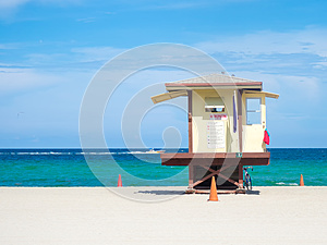 Lifesaver hut  at Fort Lauderdale beach in Florida
