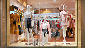 Fashion shop window clothing store front