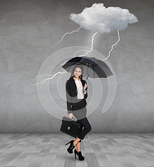 Thunderstorm strikes to businesswoman