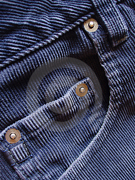 Pocket details on blue cords