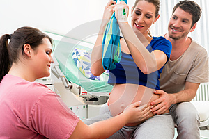 Pregnant woman preparing herself for giving birth