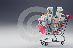Shopping trolley full of euro money - banknotes - currency. Symbolic example of spending money in shops, or advantageous purchase