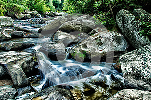 Mountain Stream with Water Cascading Over Boulders