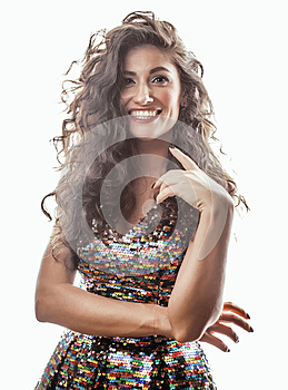 Young brunette woman with curly hairstyle in fancy glamur dress isolated on white background gesturing emotional