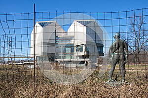 Sculpture of prisoner in front of Museum of Contemporary Art in Belgrade