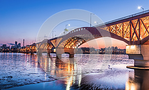 Han river with Seongsan bridge at night in Seoul, Korea/Seongsan