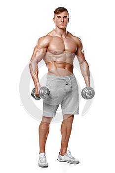 athletic man showing muscular body with dumbbells, full length, isolated over white background. Strong male naked torso abs