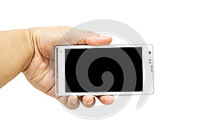 Close up of the mobile phone isolate on white background