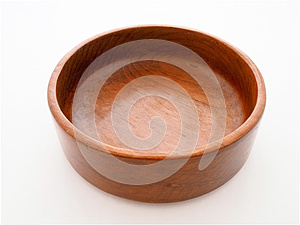Close up top view of wood empty bowl (wooden bowl), isolated on white background.