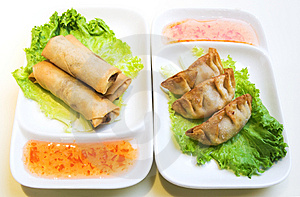 Vegetable Spring Rolls and Chicken Dumplings