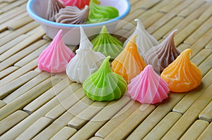 Allure candy colorful thai dessert on bamboo plate