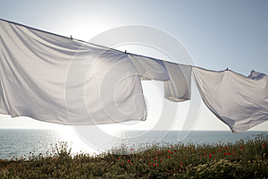Clean sheets dried with outdoors