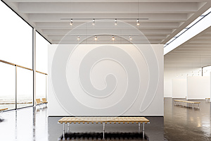 Picture exposition modern gallery,open space.Blank white empty canvas hanging contemporary art museum.Interior loft